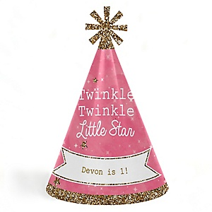 Pink Twinkle Twinkle Little Star - Personalized Cone Happy Birthday Party Hats for Kids and Adults - Set of 8 (Standard Size)