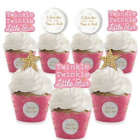 Pink Twinkle Twinkle Little Star - Cupcake Decoration - Baby Shower or Birthday Party Cupcake Wrappers and Treat Picks Kit - Set of 24
