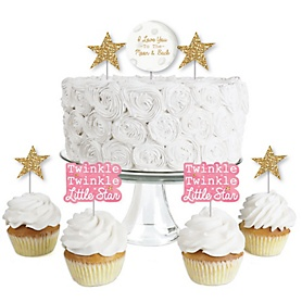 Pink Twinkle Twinkle Little Star - Dessert Cupcake Toppers - Baby Shower or Birthday Party Clear Treat Picks - Set of 24