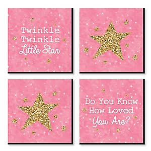 Pink Twinkle Twinkle Little Star - Nursery Decor - 11 x 11 inches Kids Wall Art - Baby Shower Gift Ideas - Set of 4 Prints for Baby's Room