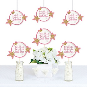 Pink Twinkle Twinkle Little Star - Moon and Star Decorations DIY Baby Shower or Birthday Party Essentials - Set of 20