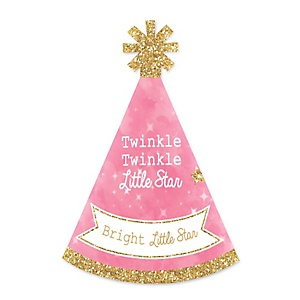 Pink Twinkle Twinkle Little Star - Personalized Mini Cone Baby Shower or Birthday Party Hats - Small Little Party Hats - Set of 10
