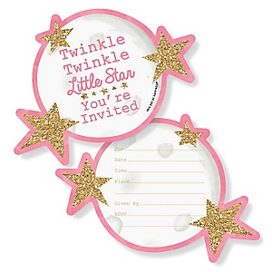 Pink Twinkle Twinkle Little Star - Shaped Fill-In Invitations - Baby Shower or Birthday Party Invitation Cards with Envelopes - Set of 12