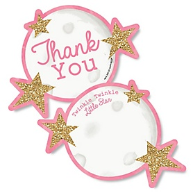 Pink Twinkle Twinkle Little Star - Shaped Thank You Cards - Baby Shower or Birthday Party Thank You Note Cards with Envelopes - Set of 12