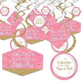 Pink Twinkle Twinkle Little Star - Baby Shower or Birthday Party Hanging Decor - Party Decoration Swirls - Set of 40