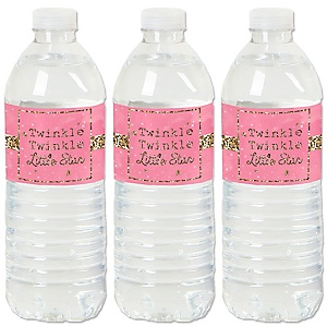 Pink Twinkle Twinkle Little Star - Baby Shower or Birthday Party Water Bottle Sticker Labels - Set of 20