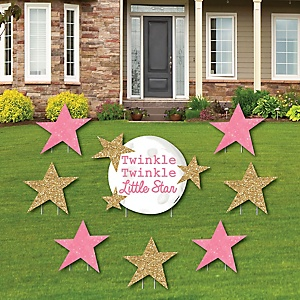 Pink Twinkle Twinkle Little Star - Yard Sign & Outdoor Lawn Decorations - Baby Shower or Birthday Party Yard Signs - Set of 8