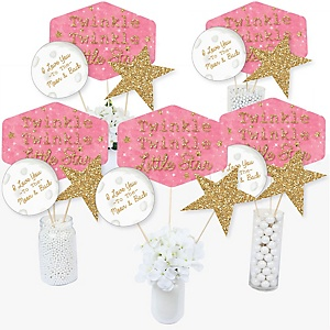 Pink Twinkle Twinkle Little Star - Baby Shower or Birthday Party Centerpiece Sticks - Table Toppers - Set of 15