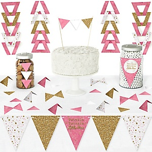 Pink Twinkle Twinkle Little Star - DIY Pennant Banner Decorations - Baby Shower or Birthday Party Triangle Kit - 99 Pieces