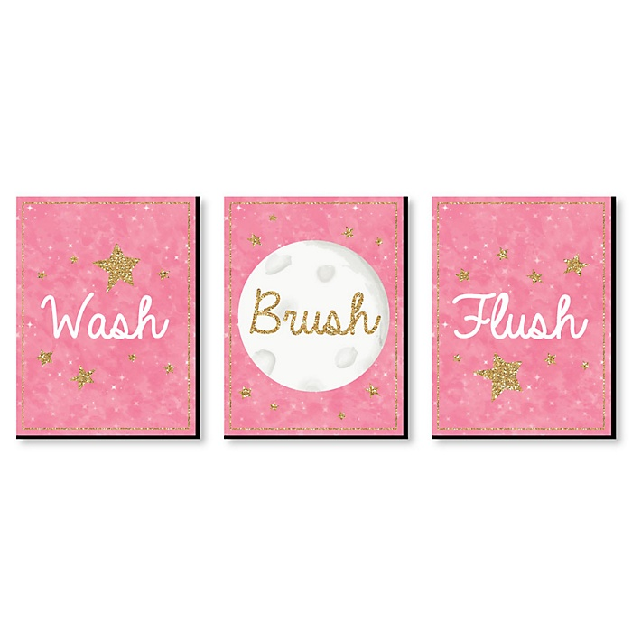 Pink Twinkle Twinkle Little Star - Kids Bathroom Rules Wall Art - 7.5 x 10 inches - Set of 3 Signs - Wash, Brush, Flush
