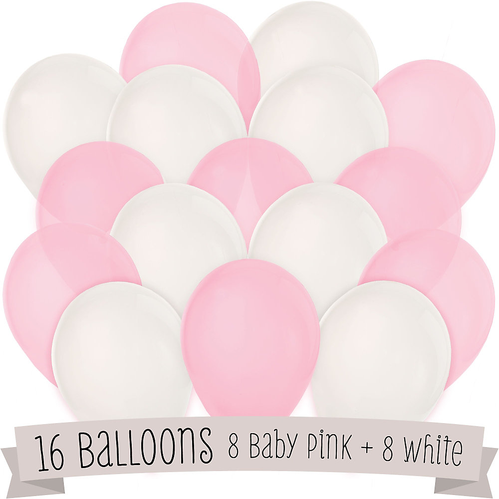 Pink And White   Baby Shower Latex Balloons   16 Ct