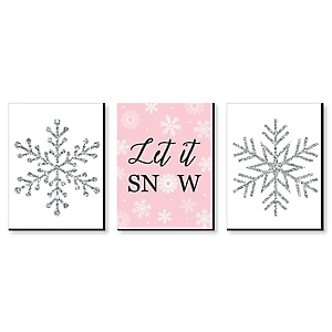 Pink Winter Wonderland - Christmas Wall Art and Holiday Decorations - 7.5 x 10 inches - Set of 3 Prints