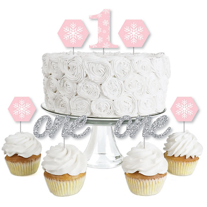 Pink ONEderland- Dessert Cupcake Toppers - Holiday Snowflake Winter Wonderland Birthday Party Clear Treat Picks - Set of 24