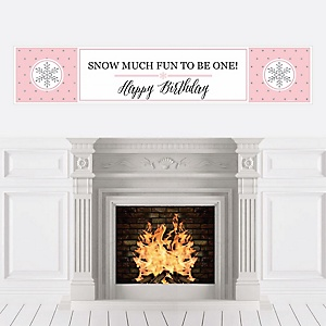 Pink ONEderland - Holiday Snowflake Winter Wonderland Birthday Party Decorations Party Banner
