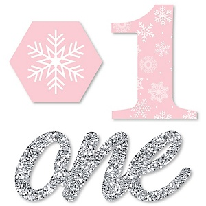 Pink ONEderland - DIY Shaped Holiday Snowflake Winter Wonderland Birthday Party Cut-Outs - 24 ct