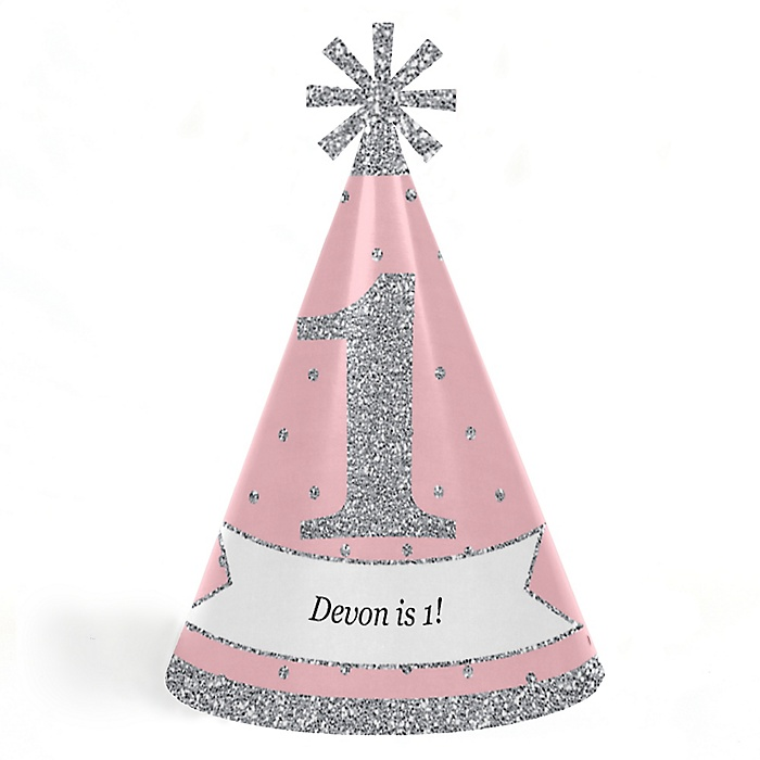 Pink ONEderland - Personalized Cone Winter Wonderland Happy Birthday Party Hats for Kids and Adults - Set of 8 (Standard Size)