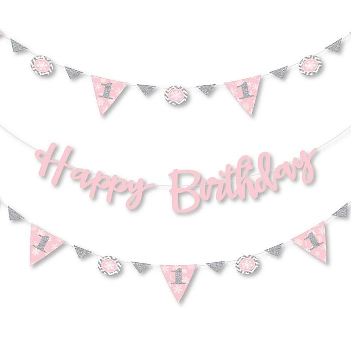 Pink ONEderland - Holiday Snowflake Winter Wonderland Birthday Party Letter Banner Decoration - 36 Banner Cutouts and Happy Birthday Banner Letters