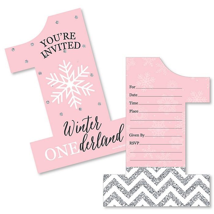 Pink ONEderland - Shaped Fill-In Invitations - Holiday Snowflake Winter Wonderland Birthday Party Invitation Cards with Envelopes - Set of 12