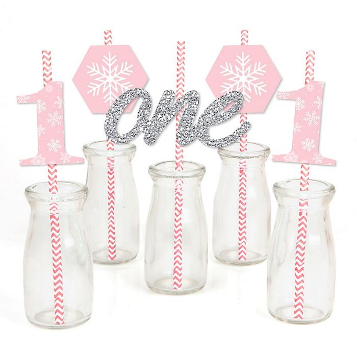 Pink ONEderland - Paper Straw Decor - Holiday Snowflake Winter Wonderland Birthday Party Striped Decorative Straws - Set of 24