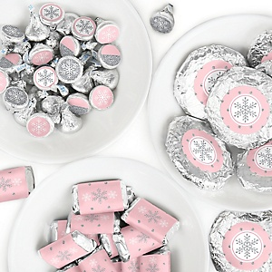 Pink Winter Wonderland - Mini Candy Bar Wrappers, Round Candy Stickers and Circle Stickers - Holiday Snowflake Birthday Party and Baby Shower Candy Favor Sticker Kit - 304 Pieces