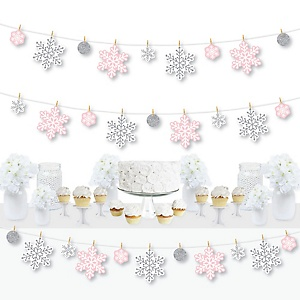 Pink Winter Wonderland - Holiday Snowflake Birthday Party and Baby Shower DIY Decorations - Clothespin Garland Banner - 44 Pieces