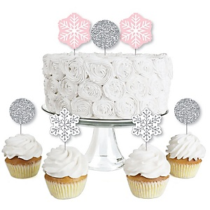 Pink Winter Wonderland - Dessert Cupcake Toppers - Holiday Snowflake Birthday Party and Baby Shower Clear Treat Picks - Set of 24