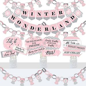 Pink Winter Wonderland - Banner and Photo Booth Decorations - Holiday Snowflake Birthday Party and Baby Shower Supplies Kit - Doterrific Bundle
