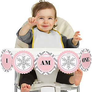 Pink ONEderland 1st Birthday - I am One - First Winter Wonderland Birthday High Chair Banner