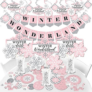 Pink Winter Wonderland - Snowflake Holiday Party and Winter Wedding Supplies - Banner Decoration Kit - Fundle Bundle