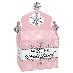 Pink Winter Wonderland - Treat Box Party Favors - Holiday Snowflake Birthday Party and Baby Shower Goodie Gable Boxes - Set of 12