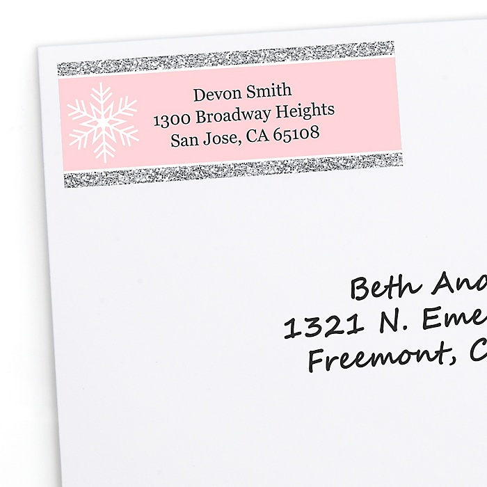 Pink Winter Wonderland - 30 Personalized Holiday Snowflake Birthday Party and Baby Shower Return Address Labels