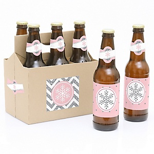 Pink Winter Wonderland - Holiday Snowflake Birthday Party and Baby Shower  - Decorations for Women and Men - 6 Beer Bottle Label Stickers and 1 Carrier