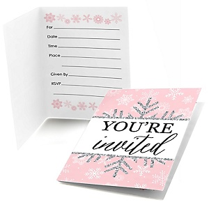 Pink Winter Wonderland - Fill In Holiday Snowflake Birthday Party and Baby Shower Invitations