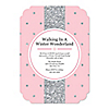 Pink Winter Wonderland - Shaped Holiday Snowflake Birthday Party and Baby Shower Invitations - Set of 12