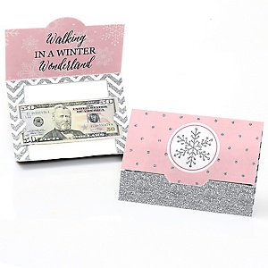 Pink Winter Wonderland - Holiday Snowflake Birthday Party and Baby Shower Money And Gift Card Holders - Set of 8