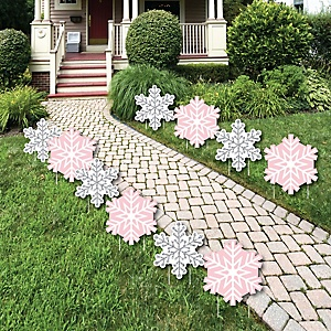 Pink Winter Wonderland - Holiday Snowflake Lawn Decorations - Outdoor Holiday Snowflake Birthday Party and Baby Shower Yard Decorations - 10 Piece