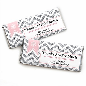 Pink Winter Wonderland - Personalized Candy Bar Wrappers Holiday Snowflake Birthday Party and Baby Shower Favors - Set of 24