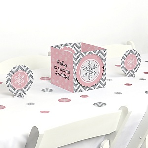 Pink Winter Wonderland - Holiday Snowflake Birthday Party and Baby Shower Centerpiece & Table Decoration Kit