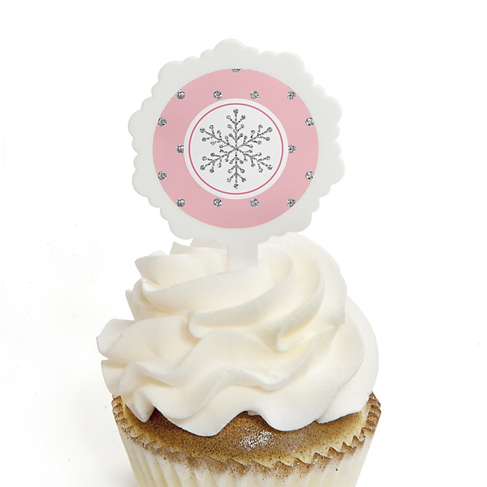 Pink Winter Wonderland - Holiday Snowflake Birthday Party and Baby Shower Cupcake Pick and Sticker Kit - 12 ct