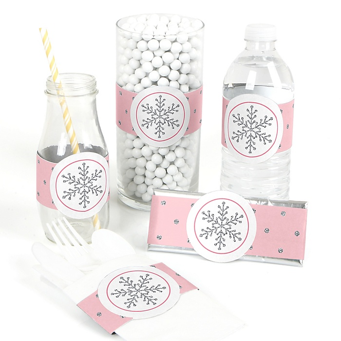 Pink Winter Wonderland - DIY Holiday Snowflake Birthday Party and Baby Shower Wrapper - 15 ct