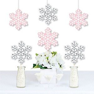 Pink Winter Wonderland - Holiday Snowflake Decorations DIY Holiday Snowflake Birthday Party and Baby Shower Essentials - Set of 20