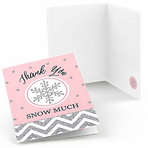Pink Winter Wonderland - Holiday Snowflake Birthday Party and Baby Shower Thank You Cards