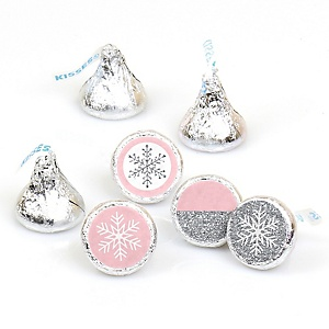 Pink Winter Wonderland - Round Candy Labels Holiday Snowflake Birthday Party and Baby Shower Favors - Fits Hershey Kisses - 108 ct