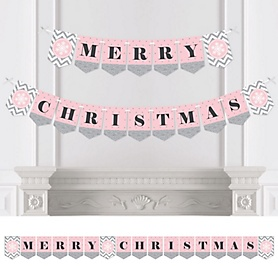 Pink Winter Wonderland - Personalized Holiday Snowflake Birthday Party and Baby Shower Bunting Banner & Decorations