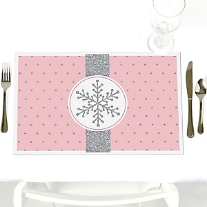 Pink Winter Wonderland - Party Table Decorations - Holiday Snowflake Birthday Party and Baby Shower Placemats - Set of 12