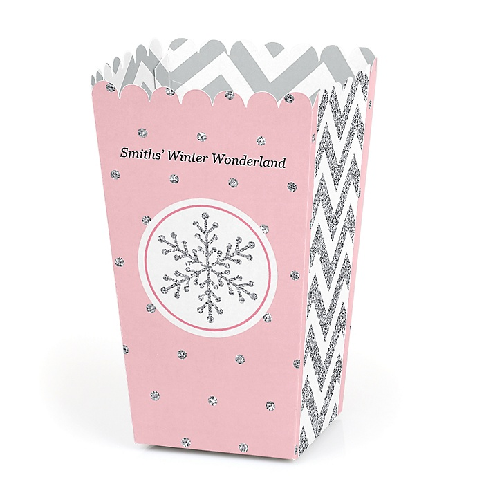 Pink Winter Wonderland - Personalized Holiday Snowflake Birthday Party and Baby Shower Popcorn Favor Treat Boxes - Set of 12