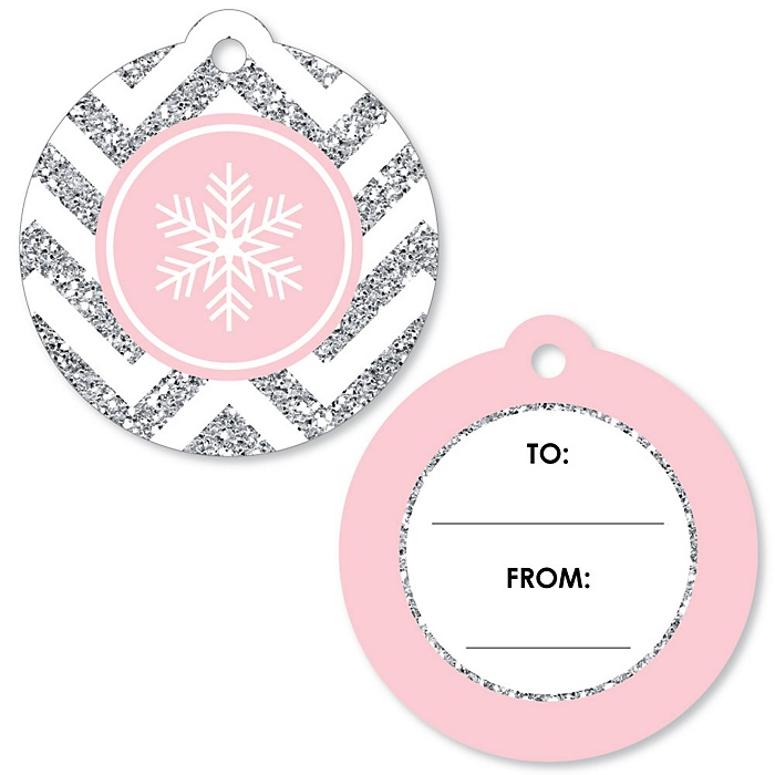 Pink Winter Wonderland - Holiday Snowflake To and From Favor Gift Tags - Set of 20