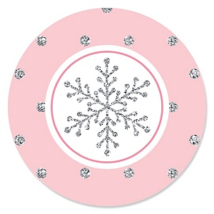 pink winter wonderland holiday snowflake party theme christmas