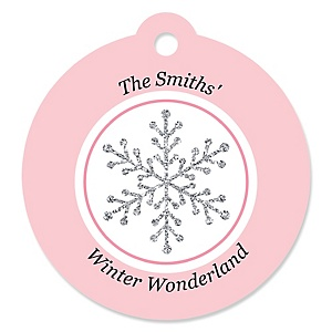 Pink Winter Wonderland - Holiday Snowflake Birthday Party and Baby Shower Tags - 20 ct