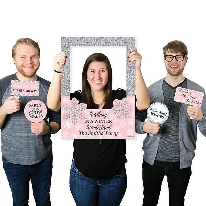 Pink Winter Wonderland - Personalized Holiday Snowflake Birthday Party and Baby Shower Selfie Photo Booth Picture Frame & Props - Printed on Sturdy Material